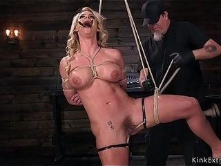 Big tits Milf in hogtie hard paddled