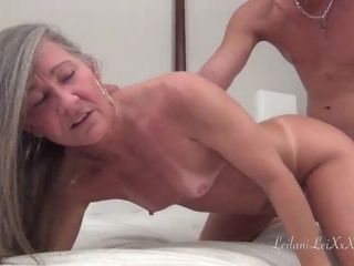Horny mature with grey hair loves her cunt eaten out by young guys