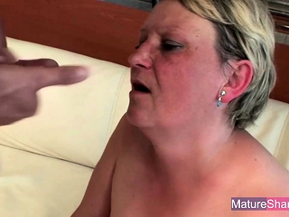 Chubby Old Blonde Fucked and Facialized