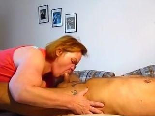 Crazy homemade glasses, housewife, mature adult movie