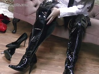 Sexy schoolgirl wears her mothers leather boots home alone