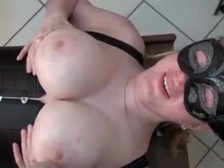Restrained busty wife penetrated by homemade fuck machine