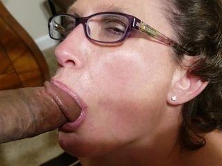 Granny In Glasses Sucks Thick Black Cock