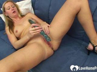 Blonde wife drills her tight wet slit