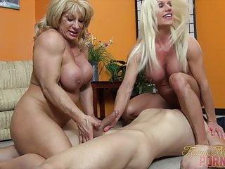 Two female bodybuilders take on one dude