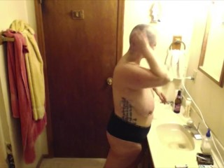 Fat MILF Voyeur Head Shave with Dancing and Smoking