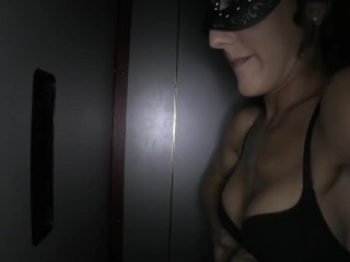 My wife enjoying the gloryhole in her mask