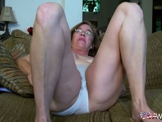 Naughty granny gets naked and plays with her super hairy ugly snatch