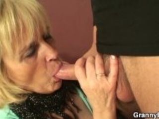 """Skinny granny prostitute takes big cock from behind"""