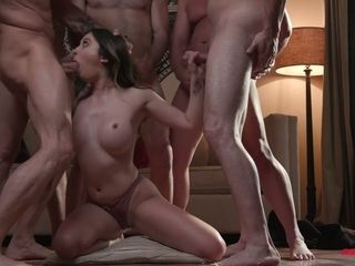 Crazy blowbang video featuring stunning big tittied babe