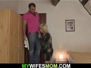 Horny blonde mother in law seduces him