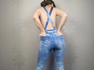 Amateur pisses in jeans, denim overalls - CatherineRain