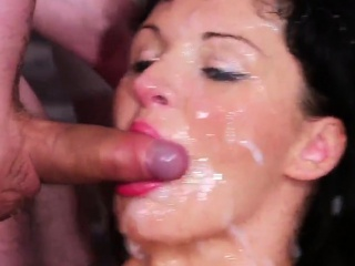 Flirty looker gets cumshot on her face eating all the cum15j
