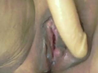 Masked mature solo masturbation
