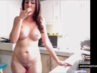 naturist stepmom cooking in the kitchen