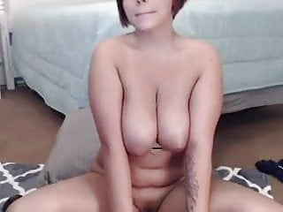 Lovely big tits using a dildo