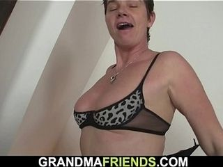 Sexy grandma gets naked then sucks and rides 2 cocks