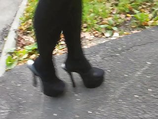 Lady L walking with black mules.