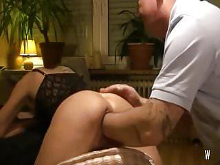 Husband deep fisting his wife