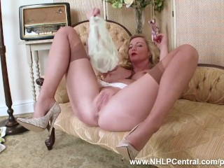 Blonde Milf Holly Kiss strips off retro white lingerie fucks juicy pussy