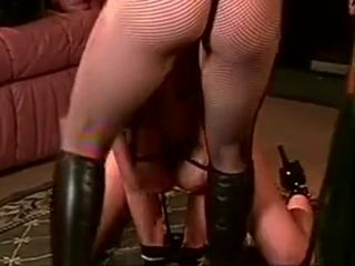 Cute sex slave punished while guy watches