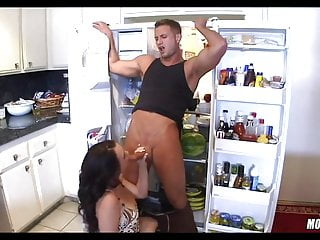 Getting a snack at the fridge