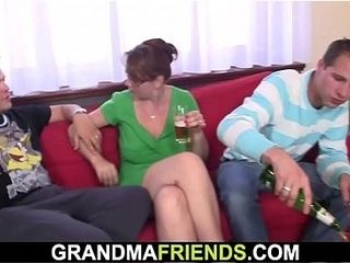 Boozed granny swallows 2 dicks at once