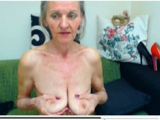 Extremely old granny shows me her super saggy boobs