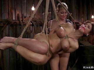 Lesbian Housewife rear nailed in barn