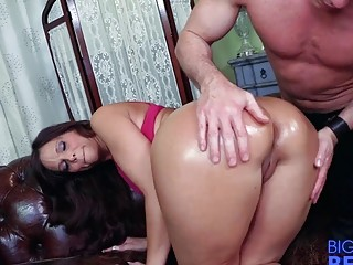 Kinky MILF gets her big butt oiled up and ravaged