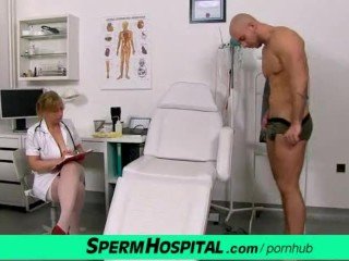 Gabina a Czech lady in uniform jerking off patient cock