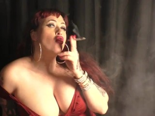 Busty Redhead Smoking V120s Julie Simone Smoking Fetish Video