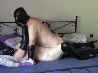 My real bondage sex on July 21, 2018: Missionary in gloves and boots