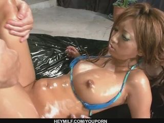 Sexy oiled up babe in a hot and sensual threesome sex - More at Japanesemamas.com