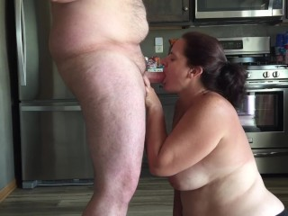 Milf Shows Off Her Big Tits While Sucking Dick