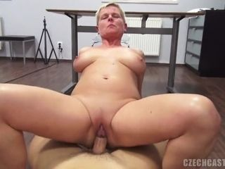Chubby mom rides thick cock
